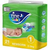 Fine Baby Diapers, Size 1, Newborn of 2-5 KGs, 21 diapers