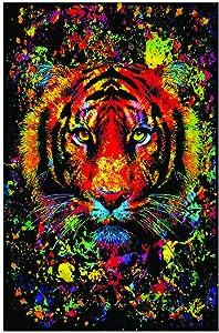 Studio B Tiger Splatter Non Flock Blacklight UV Black Light Blacklight Trippy Poster 24x36 Inches