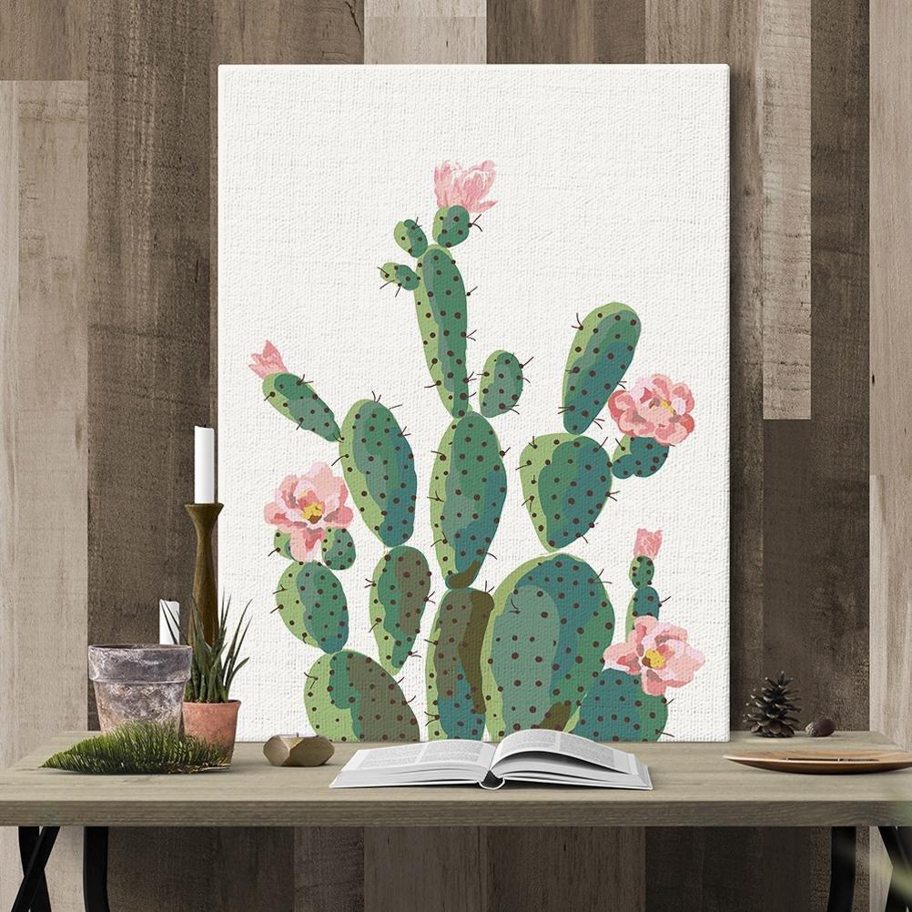 LL Cactus Stampe su tela dipinti ad olio moderna della parete di arte su tela paesaggi dalla mano della decorazione / dipinti su tela con lettiga in legno / artigianali , A , 30*25CM MINRAN DECOR