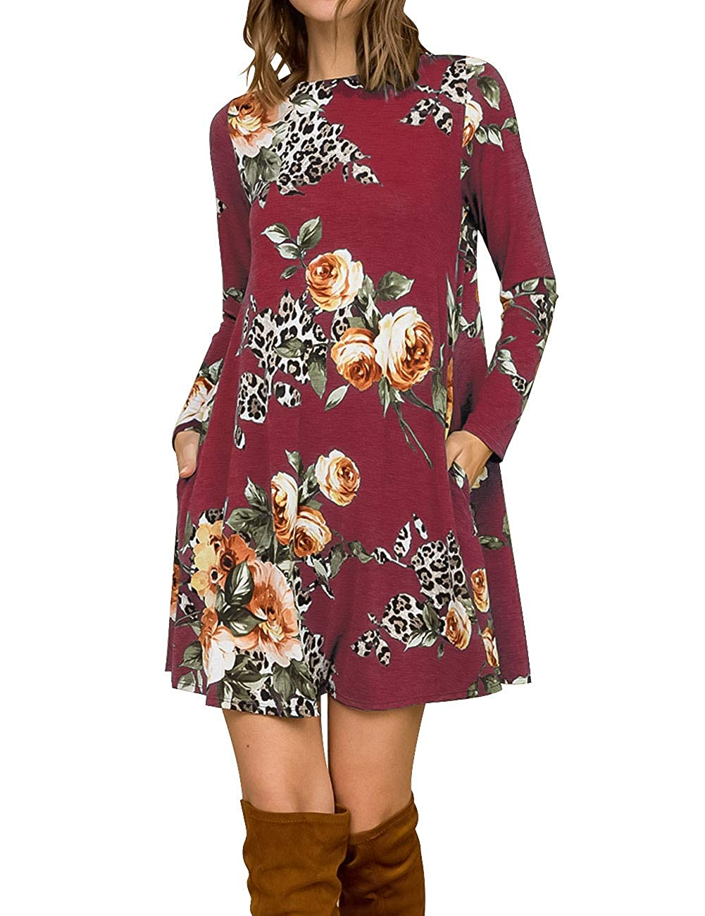Dark Red MEROKEETY Women's Long Sleeve Floral Leopard Printed Swing Tunic Dress with Pockets
