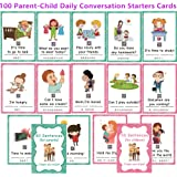 100 Parent-Child Daily Conversation Starters Cards with Picture - Fun Family-Friendly Vivid Question Cards Game for Kids - Le