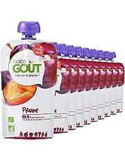 Good Goût - BIO - Gourde de Purée de Fruits Prune dès 4 Mois 120 g - Pack de 10