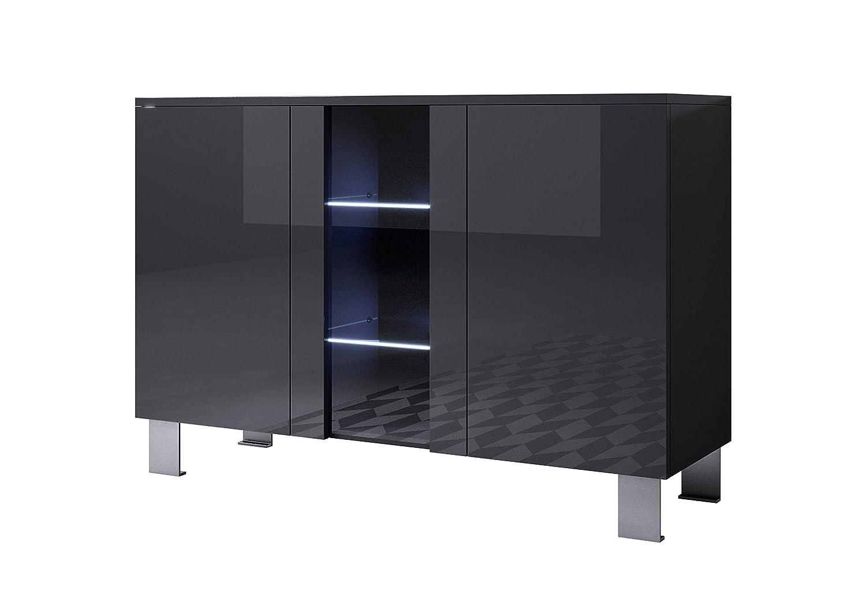 Muebles bonitos Letti e Mobili - Credenza Modello Luke A1 con LED (120x82cm) colore Nero con Piedini in Alluminio