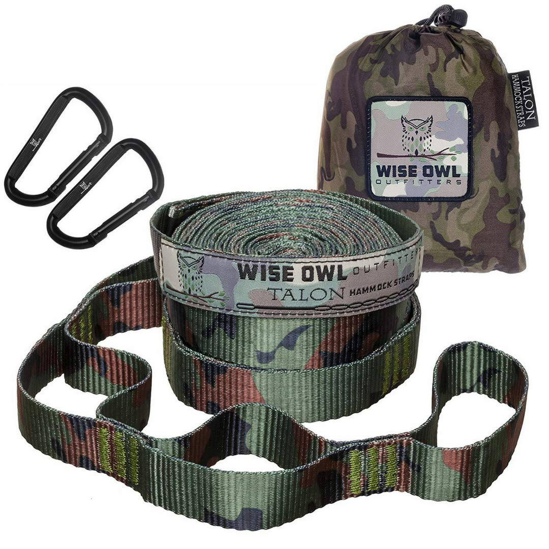 Camo Wise Owl Outfitters Hammock Straps  Combined 20 Ft Long, 38 Loops W  2 Carabiners  Easily Adjustable, Tree Friendly Must Have Gear for Camping Hammocks