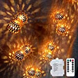LOGUIDE Moroccan String Lights,Big Metal Globe String Lights with Remote Timer,Indoor Outdoor Battery Operated Fairy Lights f