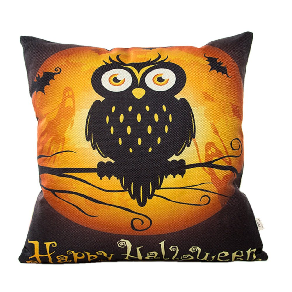 HOSL 4 Pack PW04 Happy Halloween Decorative Pillow Cover