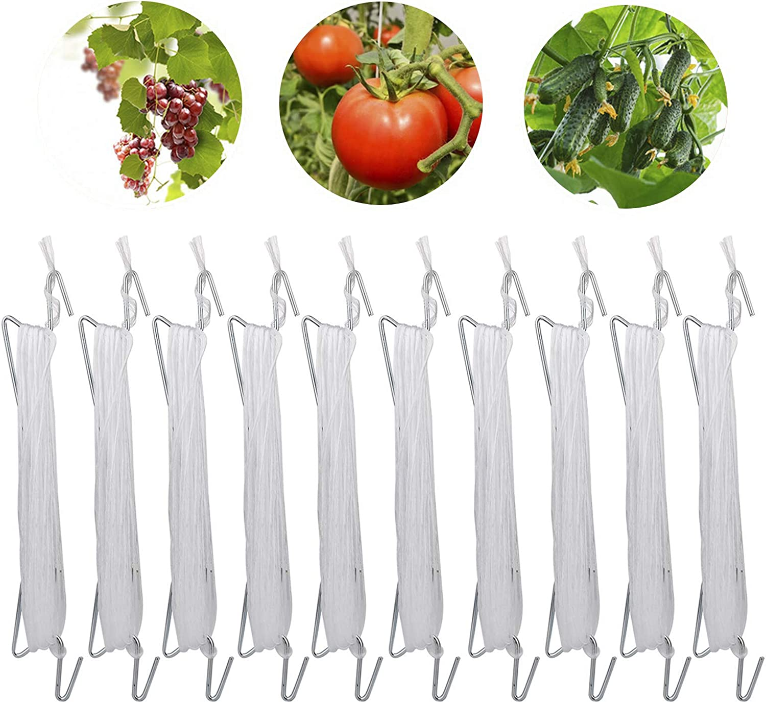 æ— JNDJNFV Tomato Support Hooks, 10Pcs Tomato Support J Hooks, Tomato Hooks Tomato and Vine Crop Trellis, Hooks to Prevent Tomatoes from Pinching or Falling Off, 59ft Rope