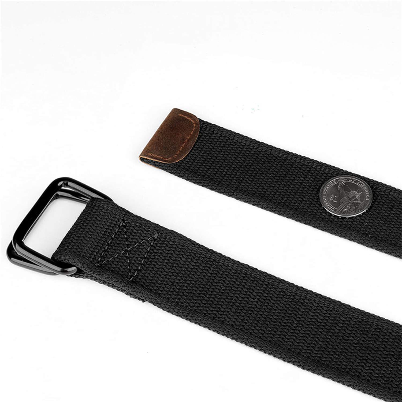 Plus Size 100-190Cm Big Tall Mens Double Ring Buckle Cotton Canvas Cloth Fabric Belts Web Belt Black Waist Jea