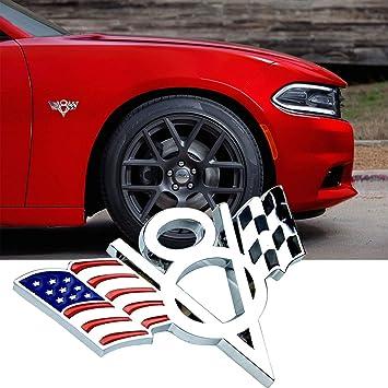 V8 UK USA Flag Checkered Flag 3D Front Grille Badge Metal Hood Emblem Decal