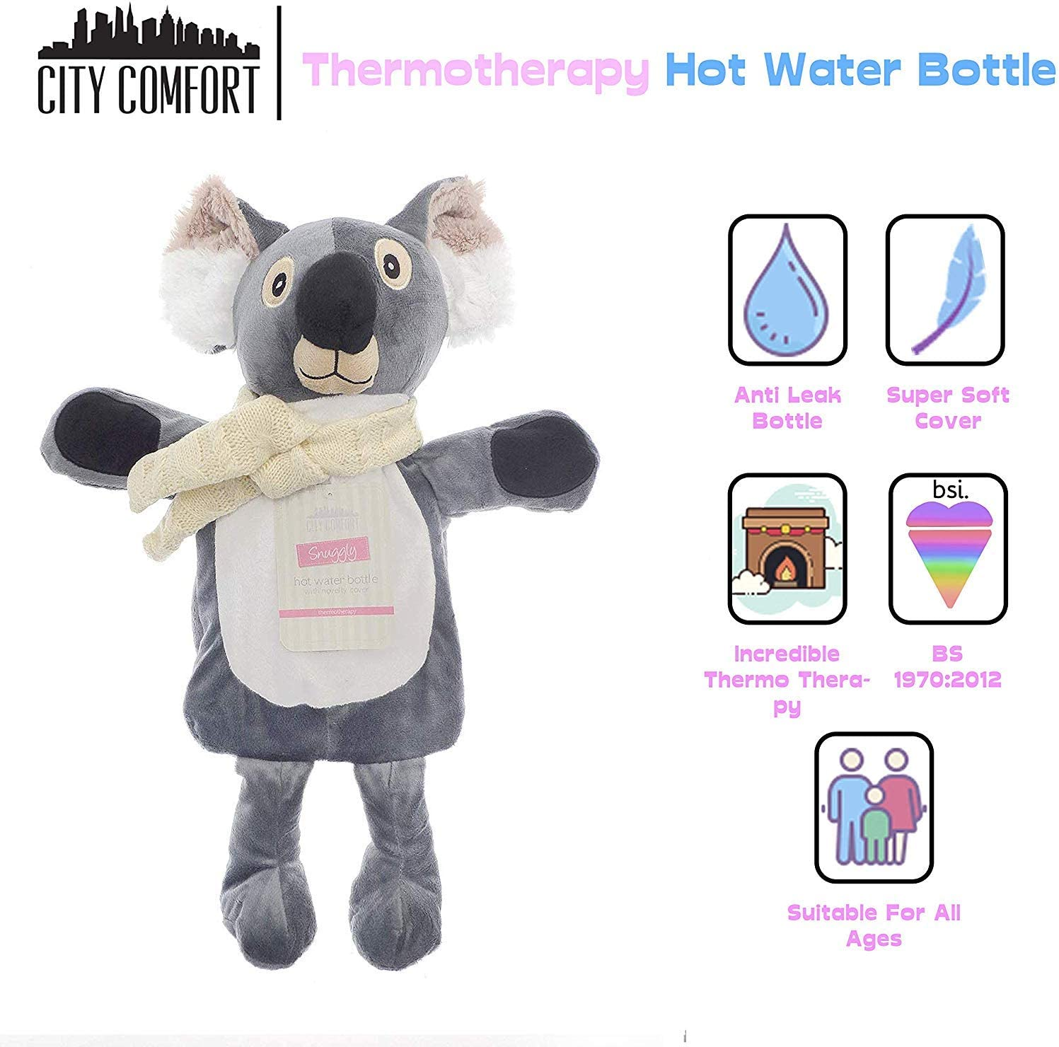 Gifts for Girls Boys Grey 100/% Natural Rubber Cosy Bed Warmer Super Soft Peluche Koala Rabbit CityComfort Hot Water Bottle with Cover 1L Kids Hot Water Bottles with Fleece Covers