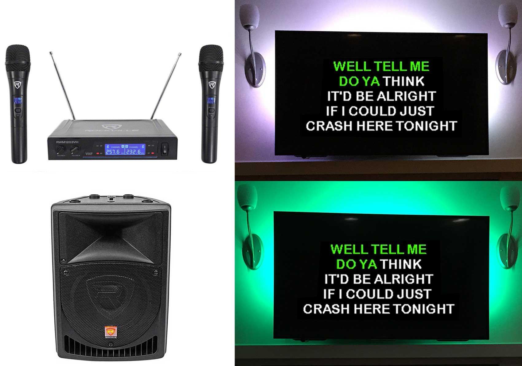 Rockville 8'' Powered Pro Karaoke Machine/System w/LED's+(2) Wireless Microphones