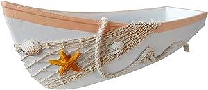 "Attraction Design Wooden Boat Tray Decor, 17""L Canoe Boat Tray Display with Fish Net Starfish Seashell Accents White Beach Nautical Theme Decor"