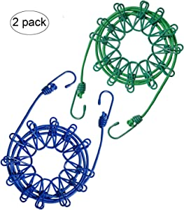 Payanwin 2 Pack Travel Clothesline,4m/13ft Portable Retractable Adjustable Clothes Line Rope with 24 Clothespins, 24 Anti-Skid Clips for Outdoor and Indoor(Green and Black)