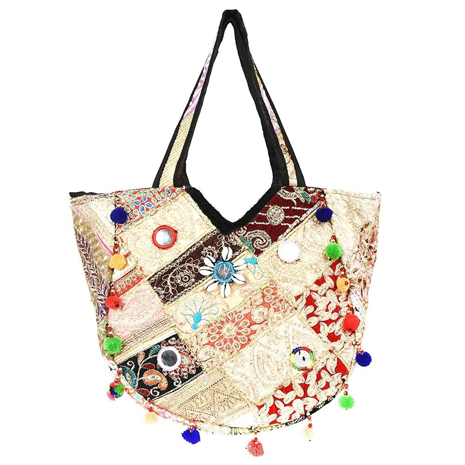 IndianShelf Handmade Hobo Bag White Indian Shoulder Bags Cotton Hand Bags Embroidery Purse Bags Online