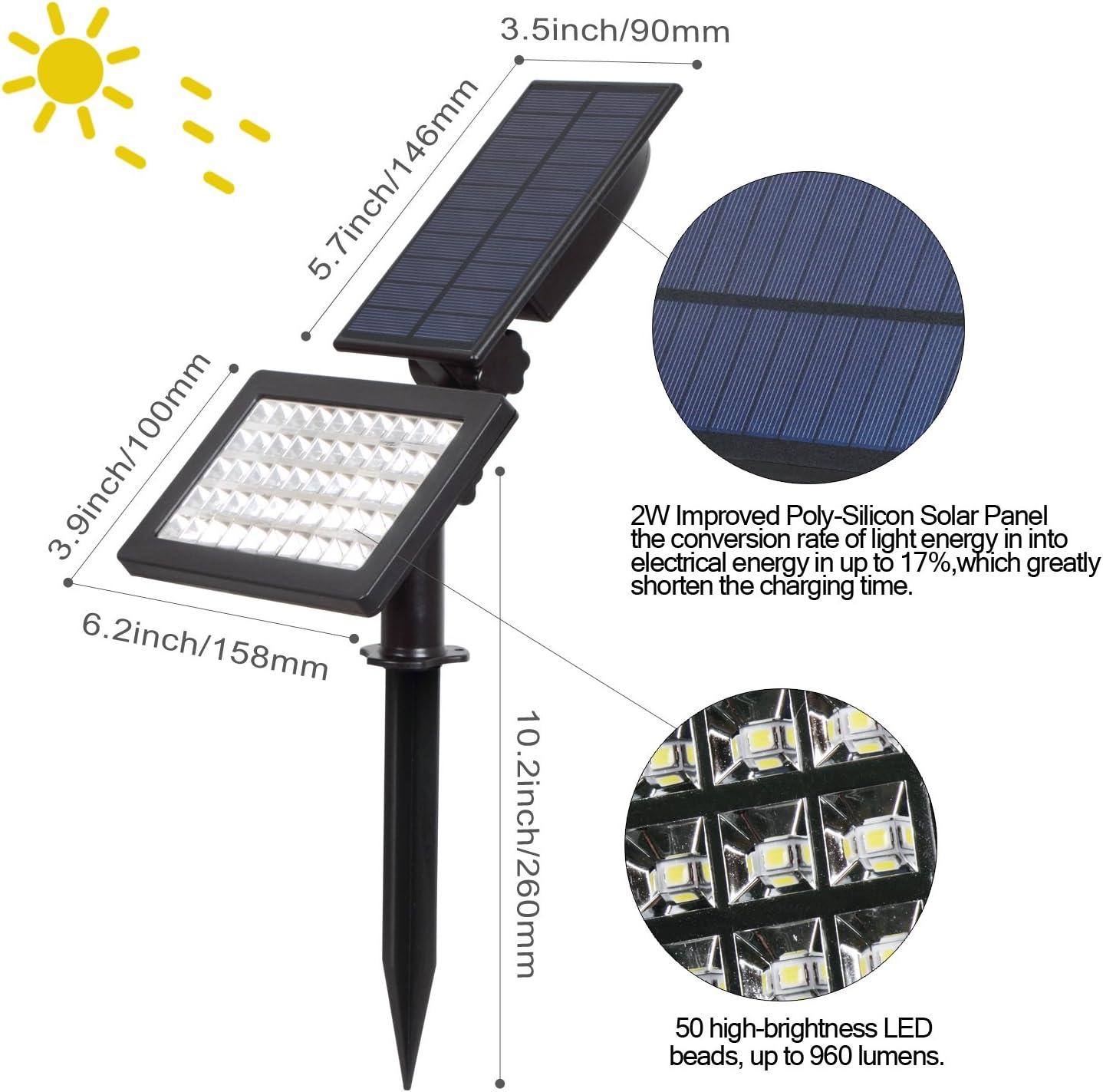 Amazon.com: T-SUN Foco Solar Luz de inundación: Jardín y ...