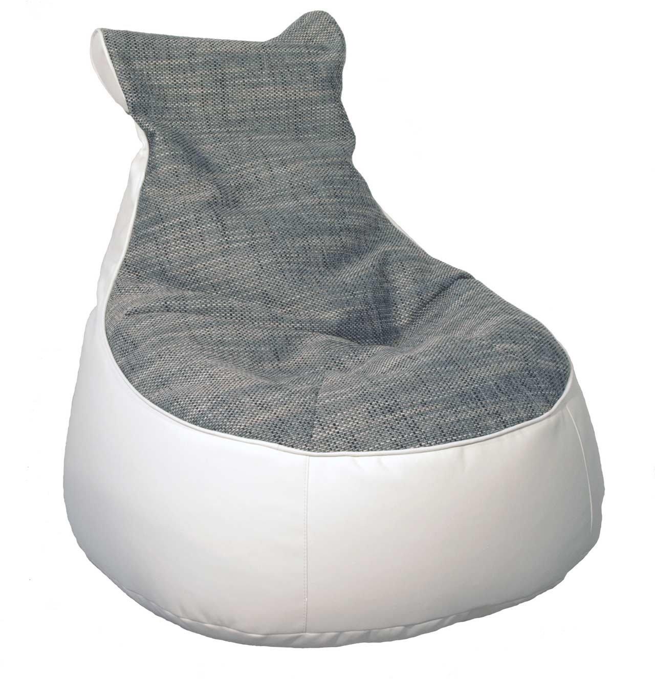 Lifestyle4living Sitzsack, Sitzkissen, Bodenkissen, Relaxkissen, Relaxkissen, Kunstleder weiß, weiß, weiß, Webstoff grau, Füllung EPS-Perlen cc4024