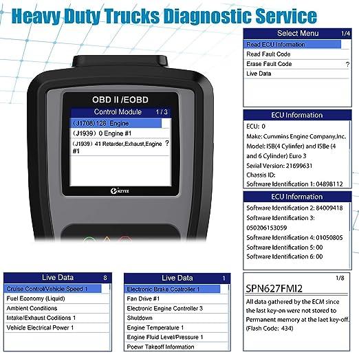 Kzyee KC601 Heavy Duty Scan Tool HD Truck Diagnostic Scanner Transmission DPF Code Reader Eraser With Live Data ECU Info For J1587 J1708 J1939 Class