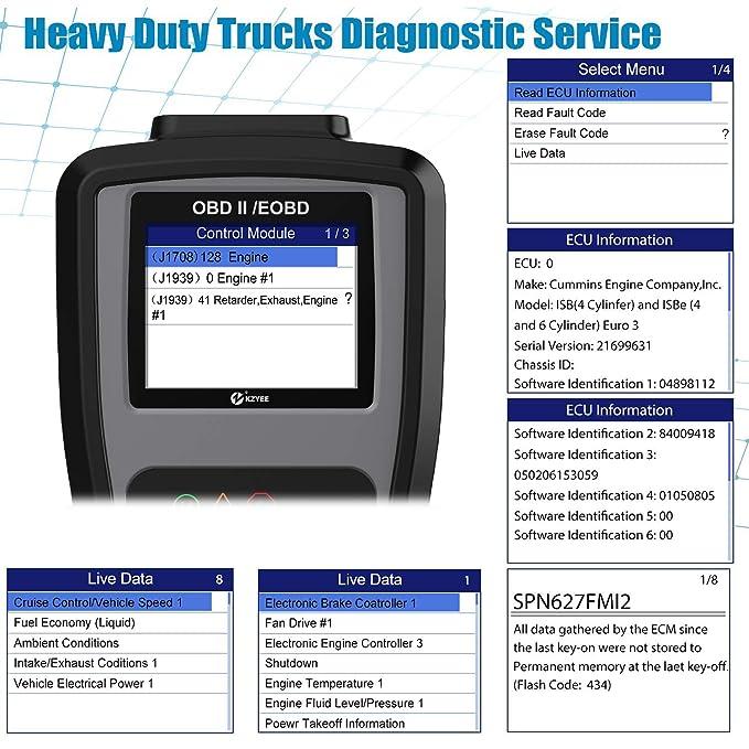 Amazon.com: Kzyee KC601 Heavy Duty Scan Tool, HD Truck Diagnostic Scanner Transmission Code Reader/Eraser Live Data J1587/J1708 J1939 Class 8 Diesel Trucks: ...