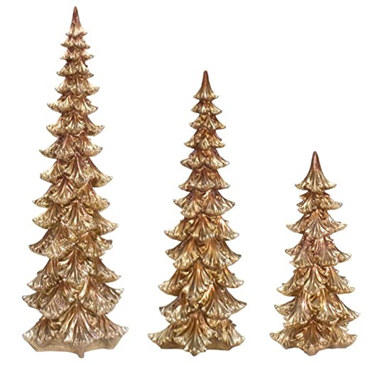 Christmas Tablescape Decor - Enchanting Gold Christmas Tree Table Top Decorations Set of 3