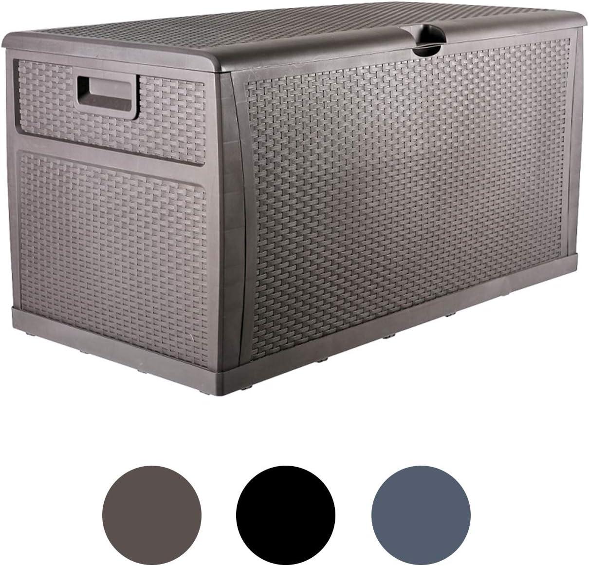 Plastic Deck Box Wicker 120 Gallon , Brown - Waterproof Storage Container Outdoor Patio Garden Furniture
