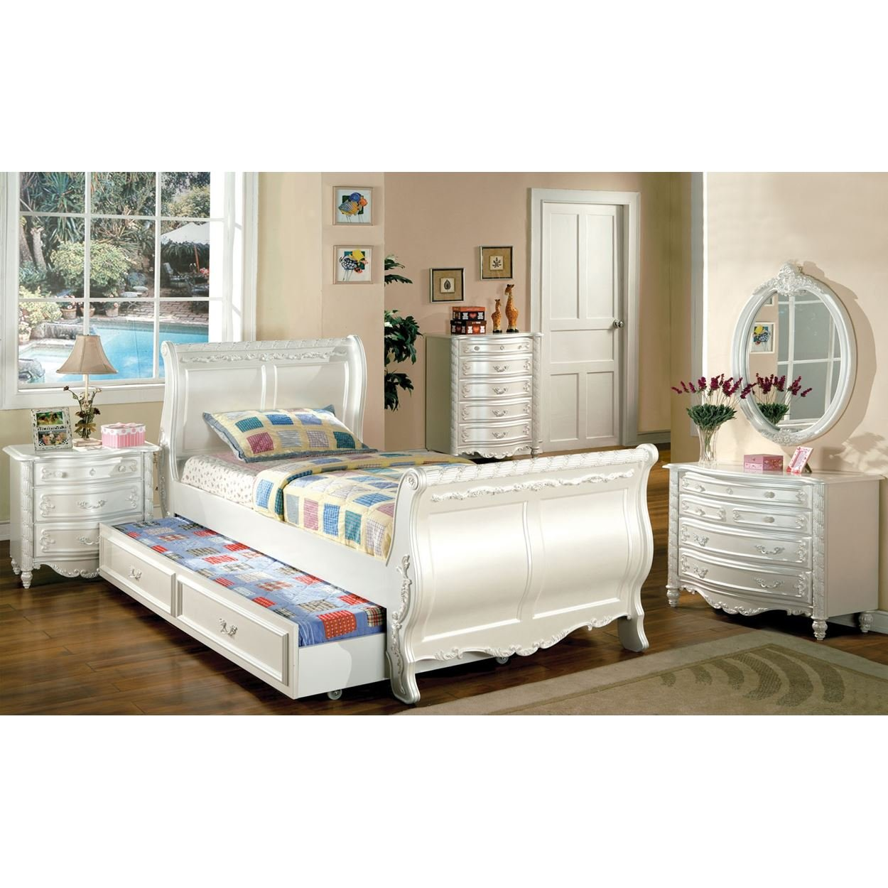 Addison Girls 4 Piece Sleigh Full Bed, 1 Nightstand, Dresser, Mirror in Pearl White by FA Furnishing