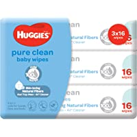 Huggies Pure Clean Baby Wipes, 16ct (Pack of 3)