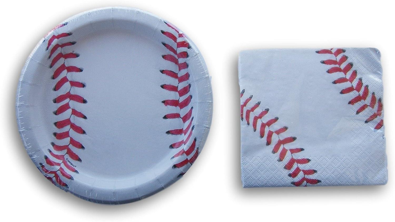 Unq Baseball Party Supply Kit - Beverage Napkins and Dessert Plates