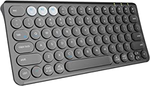 Multi-Device Bluetooth Keyboard - Samsers Rechargeable Wireless Keyboard, Universal Full Size Ultra Slim Keyboard Bluetooth 5.1 for Tablet Smartphone Laptops PC MacBook OS/iOS/Android/Windows - Black