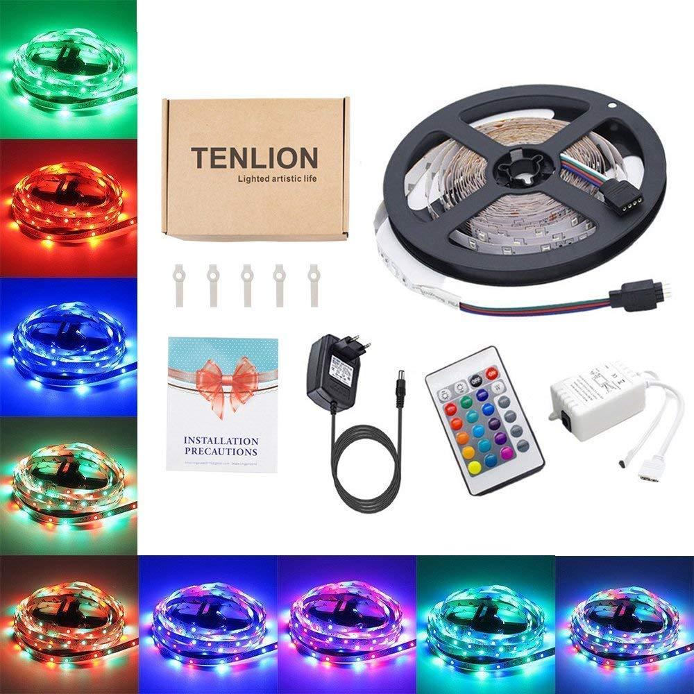 TENLION LED 3528 RGB Non-é tanche 5M Strip Light Multicolore 300 LED avec té lé commande 24 boutons + Adapteur + Alimentation 3A 12V