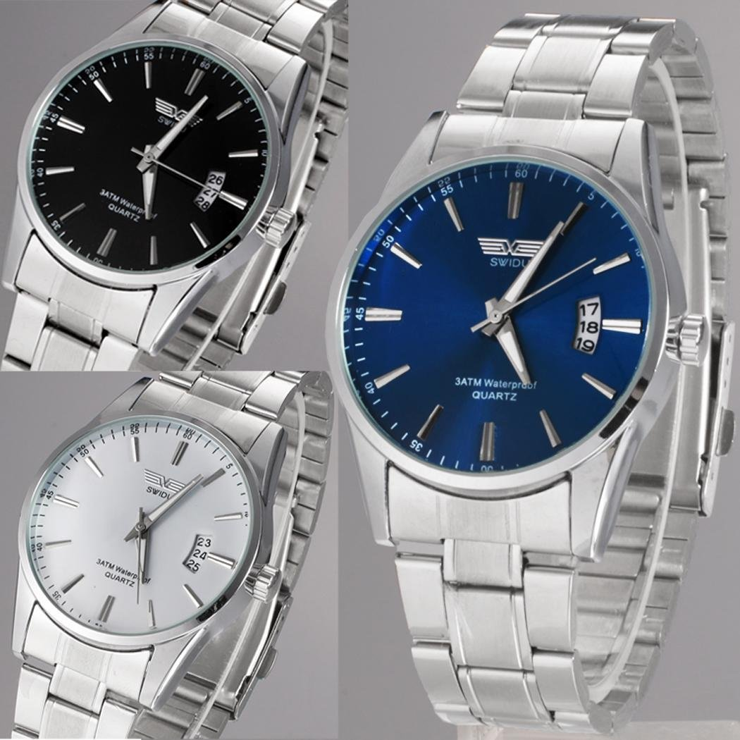 Junnire Men Wrist Watches,Stainless Steel Luminous Quartz Watch Fashion Waterproof Casual Business Wristwatch Watches