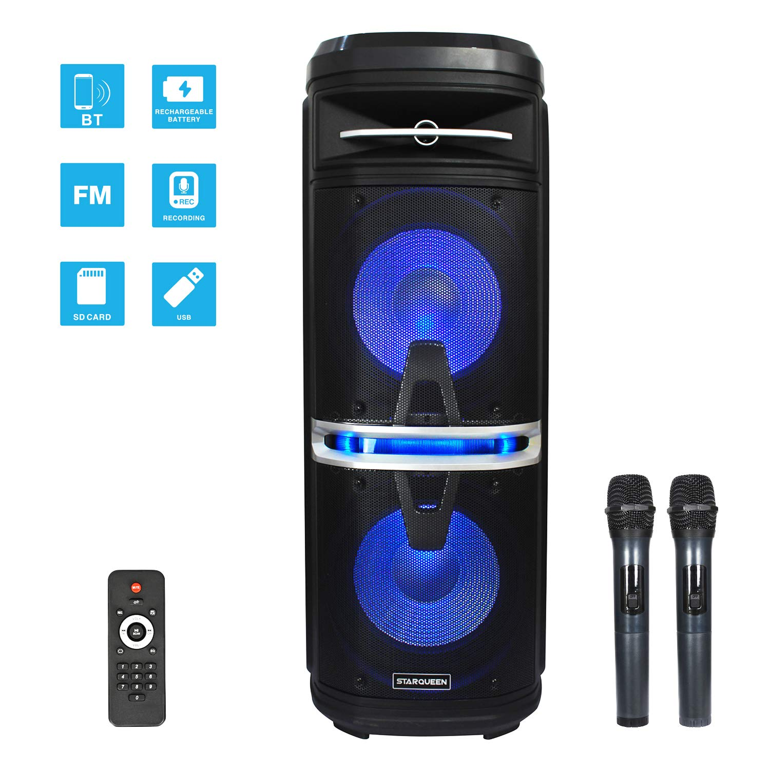 Starqueen Bluetooth PA System Speaker Dual 10 Inch Woofers with 2 Wireless UHF Microphones,Karaoke DJ Speaker with Top Operation Panel,Colorful LED Lights,Active Digital Sound Box,FM/USB/SD Card/AUX