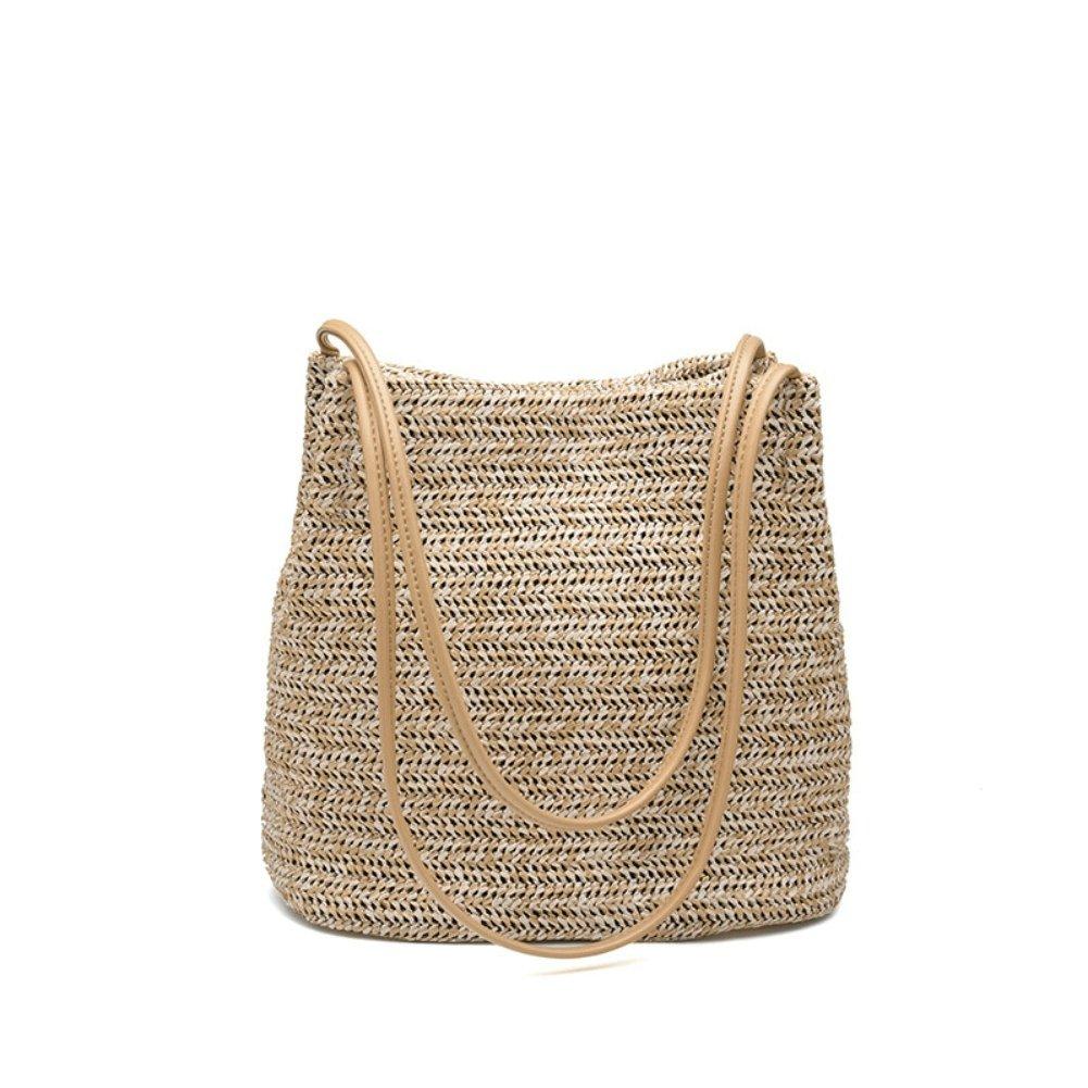 OVOV Women's Women's Summer Beach Straw Handbag Large Woven Shoulder Bag (Khaki)