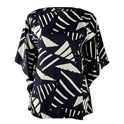 Lauren Ralph Lauren Women's Plus Size Graphic Print Poncho Tunic