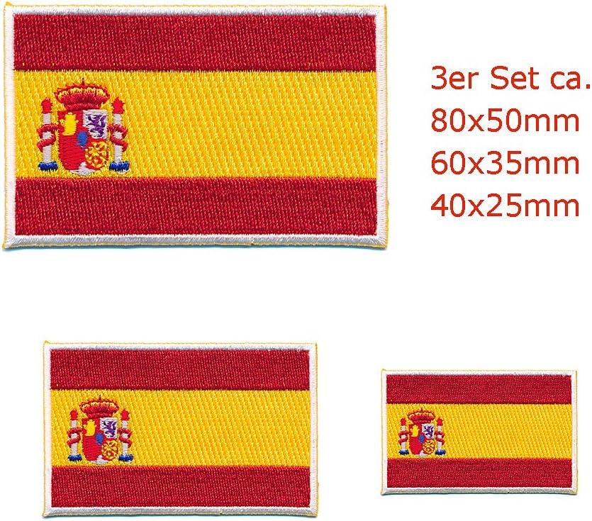 Hegibaer 3 Spanien Flaggen Spain Flags Madrid Barcelona Patch Aufnäher Aufbügler Set 0663 Auto