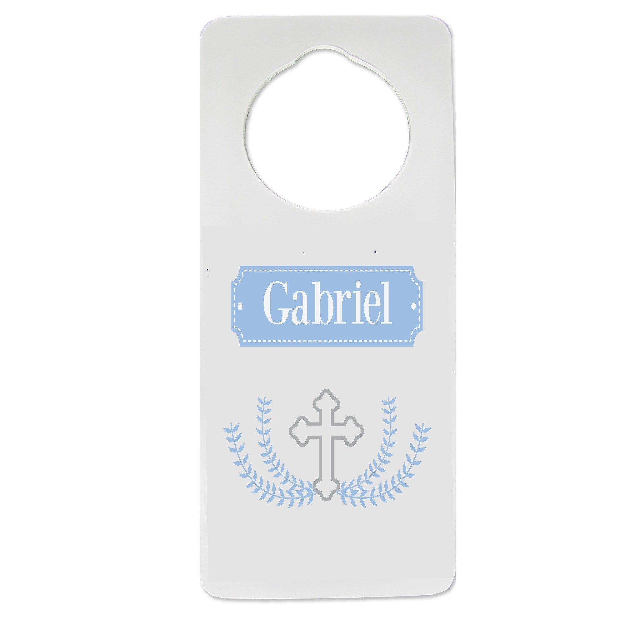 Personalized Cross Garland lt blue Nursery Door Hanger