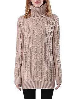 Sweaters for Women Turtle Cowl Neck Vertical Stripe Velvet Yarn Long ... 2e4d9d0b1