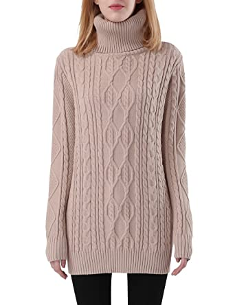 6119951bed Rocorose Women s Cable Knit Long Sleeves Turtleneck Sweater Apricot S