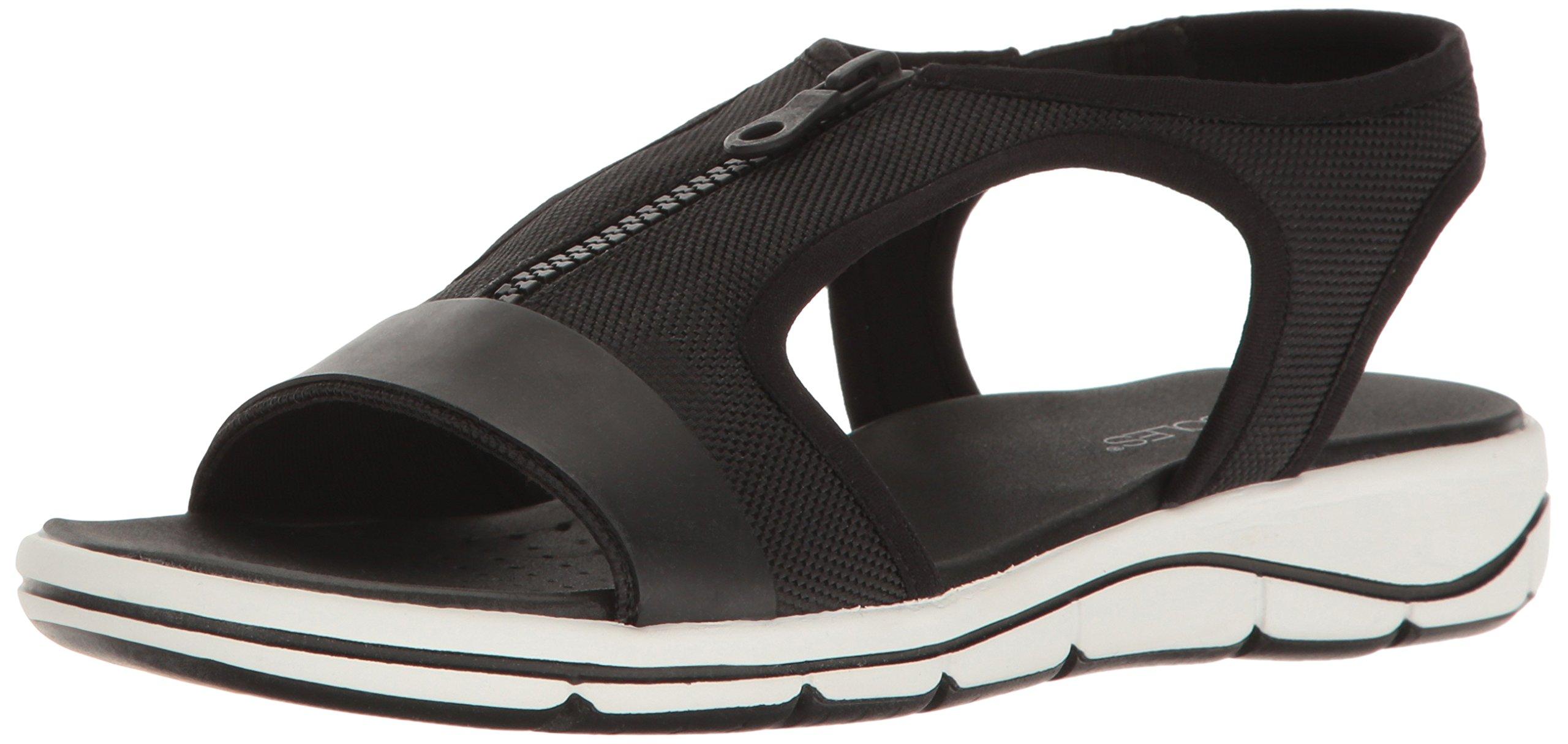 Aerosoles Women's Top Form Flat Sandal, Black Fabric, 5 M US