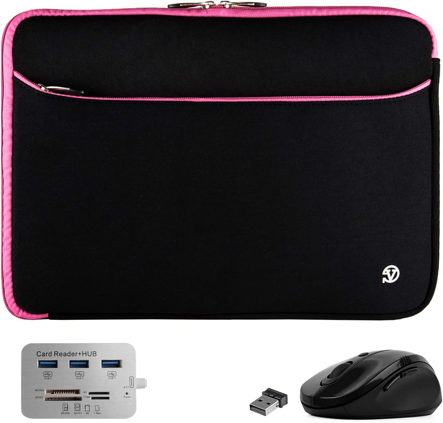 Protective Padded Black Pink 14-inch Laptop Sleeve with USB Hub and Mouse for Asus ZenBook, VivoBook, ExpertBook, Chromebook 14-inch