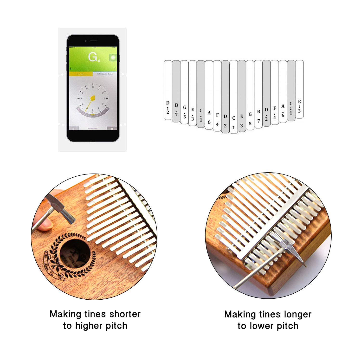 Kalimba 17 Keys Thumb Piano builts-in EVA high-performance protective box, tuning hammer and study instruction best gift For Kids Without Any Musical Basis Or Musician by Higohome (Image #5)