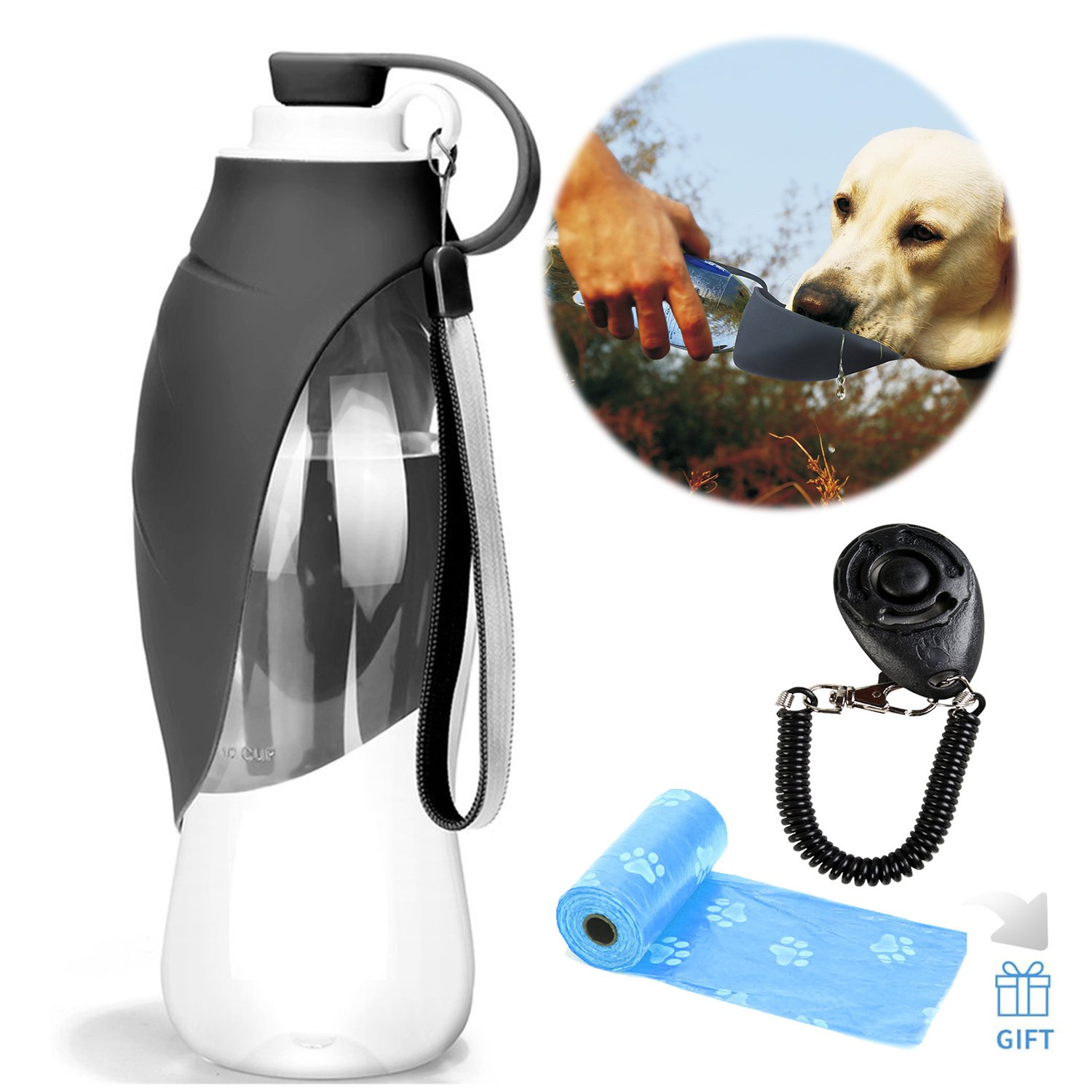 Grey Pet Travel Water Bottle Expandable Silicone Dog Water Bottle Dispenser with Free Dog Training Clicker and Dog Waste Poop Bags