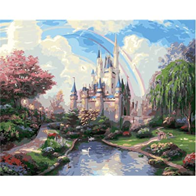 ES Art DIY PBN-Paint by Numbers Dream Castle 16-by-20 inches Frameless.: Toys & Games