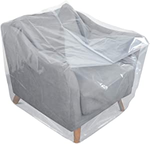 HOMEIDEAS 4 Mil Extra Thick Plastic Sofa Cover for Moving Protection & Long Term Storage, 3D Envelope Shape Furniture Cover, Waterproof & Tear Resistant(1 Pack, Chair)