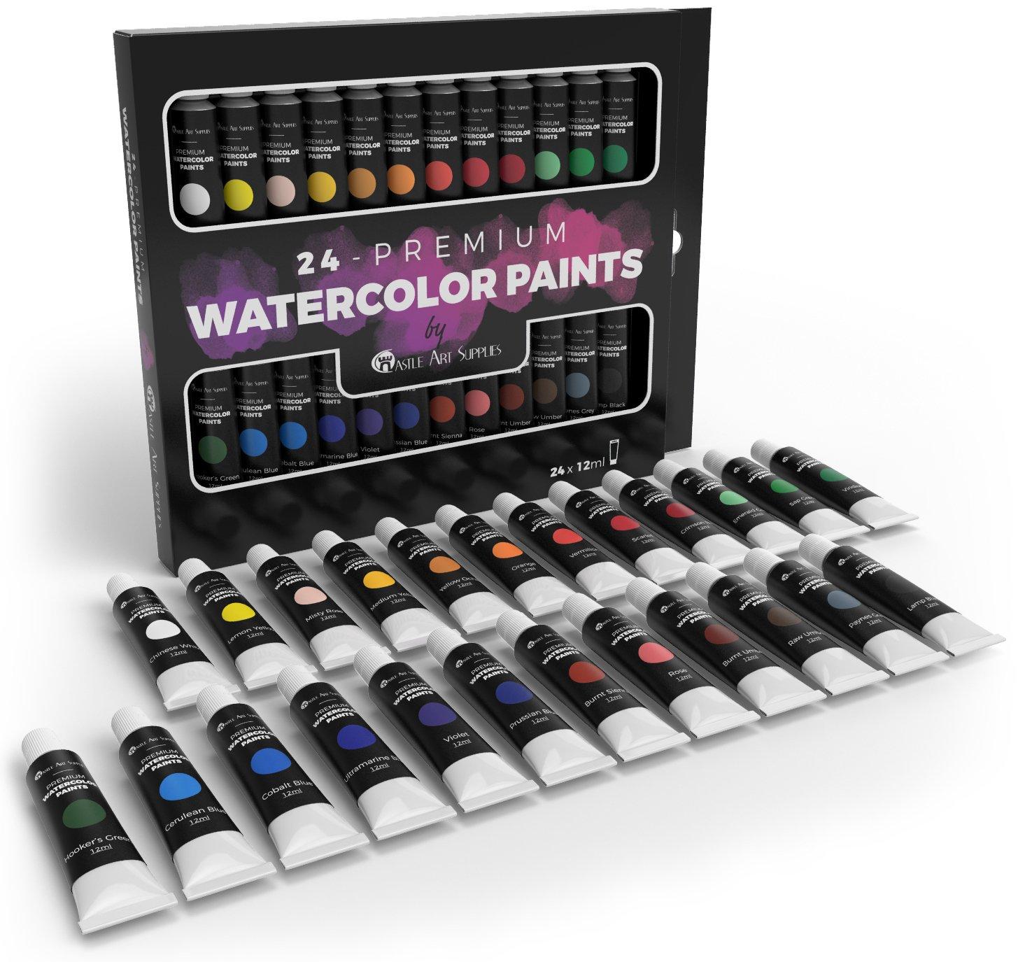Castle Art Supplies, set di tubetti di pittura ad acquerello, per professionisti e principianti, set di 24 tubetti dai colori vivaci