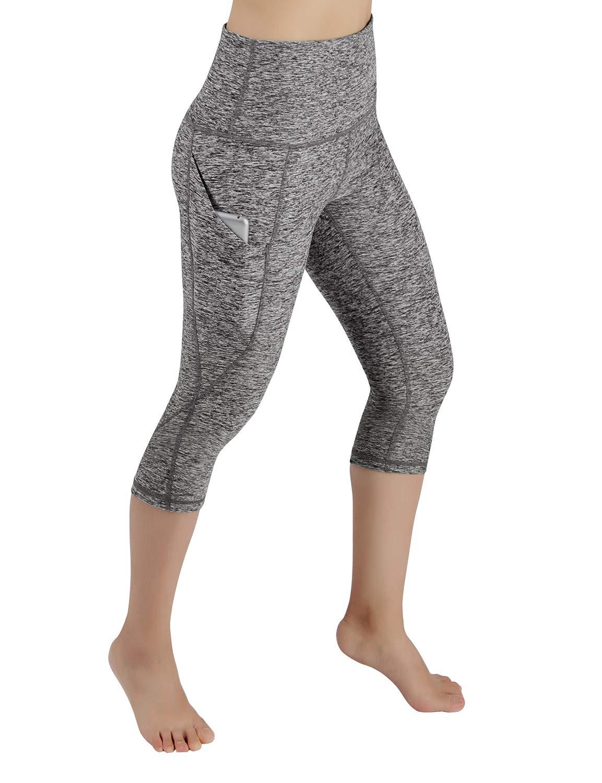 ODODOS High Waist Out Pocket Yoga Capris Pants Tummy Control Workout Running 4 Way Stretch Yoga Leggings,GrayHeather,X-Small