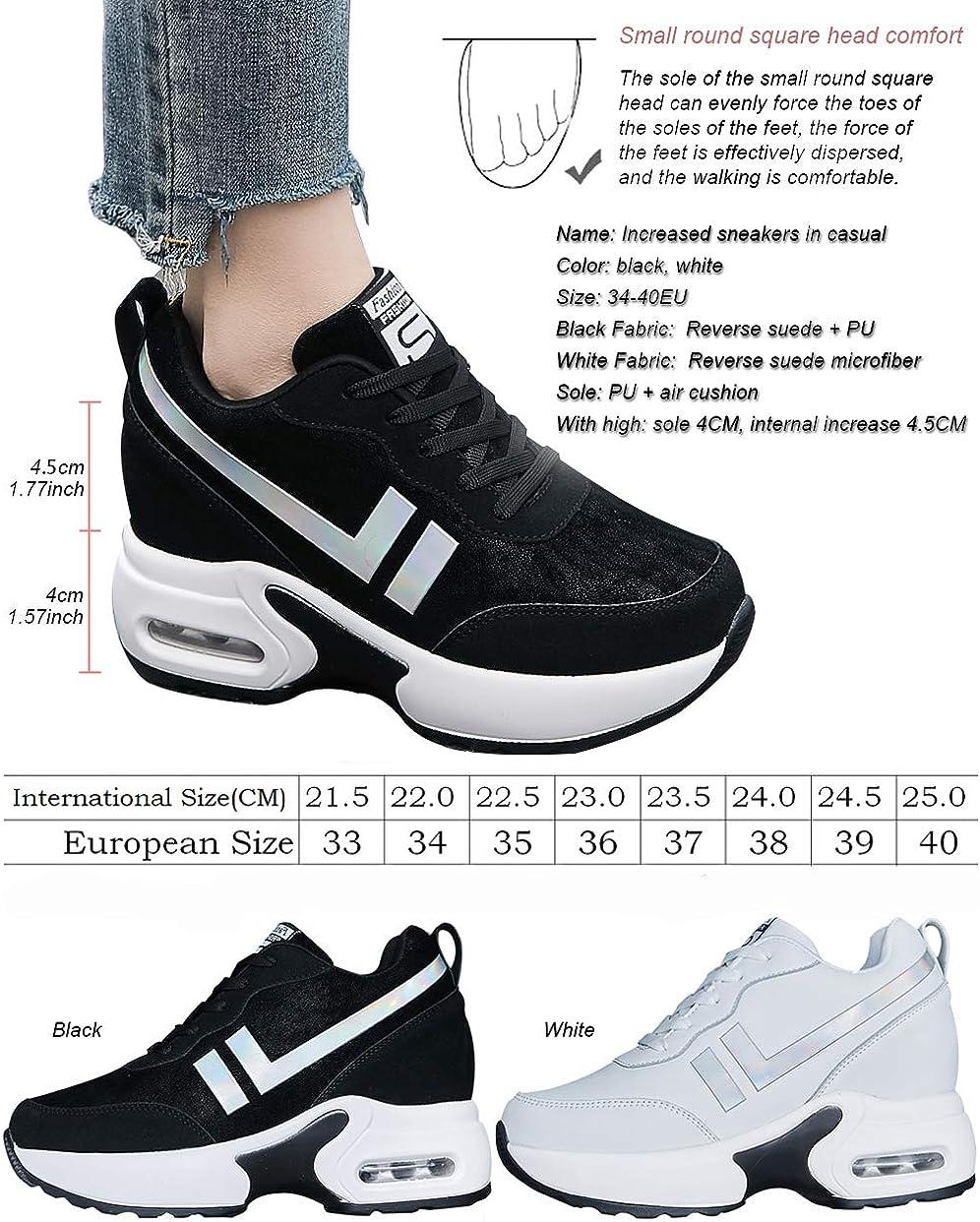 tqgold®Damen Wedges Sneaker Keilabsatz 8cm Sportschuhe Turnschuhe Atmungsaktive Freizeitschuhe Leicht Schwarz Weiß Beige