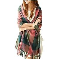 Écharpe Foulard Châle pour Femme Automne Hiver Chaud en Coton à Carreaux Surdimensionné avec Décoration Frange Simple Classique (79L * 23W Pouces)