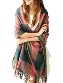 Écharpe Foulard Châle pour Femme Automne Hiver Chaud en Coton à Carreaux  Surdimensionné avec Décoration Frange db62e00c07d