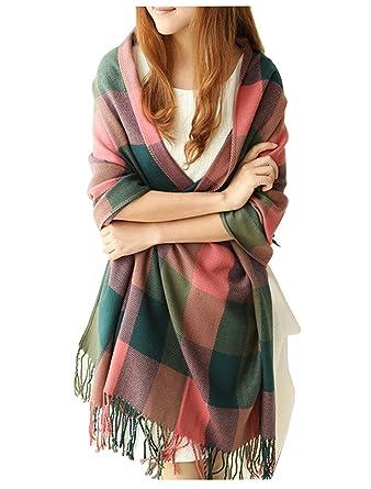 51cd32ead473 Écharpe Foulard Châle pour Femme Automne Hiver Chaud en Coton à Carreaux  Surdimensionné avec Décoration Frange