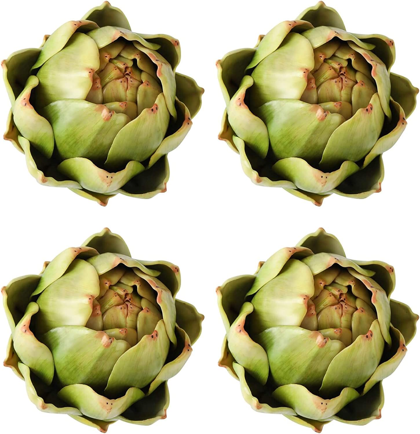[4-Pack] Large Green Faux Artichokes - Artificial Vegetables and Fake Fruits for Kitchen Decorations (Green)